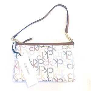 Calvin Klein Monogram Logo Chainlink Shoulder Bag